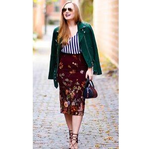 Zara Woman Red Burgundy Pencil Skirt Floral Print